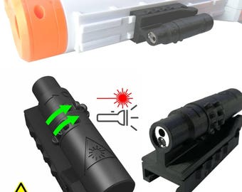Laser Aim Point & Lamp for Nerf guns. Tactical rail accessories. Color: black