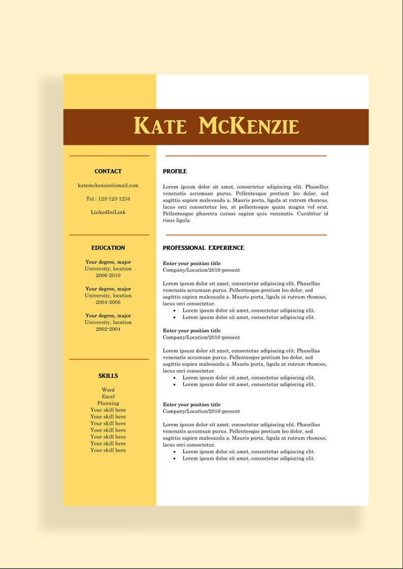 Resume Template 4 Page CV Template Cover Letter For MS Word Instant Digital Professional Template