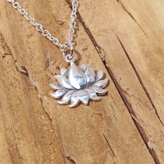 Sterling Silver Tiny Lotus Blossom Flower Charm Openwork Yoga Necklace Weddings