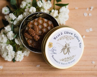 All Natural Beeswax Heel & Elbow Lotion Bar. Perfect gift for her beautiful skin. Natural skincare. Ninas bees