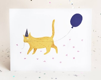 Party Cats - Yellow Cat Card