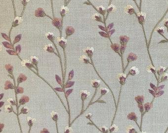 Dark Blush Embroidered Petite Florals On White Fine Cotton Blend