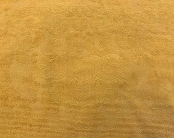 Ornate Raised Cut Velvet Pattern On Medallion Yellow Cotton Blend