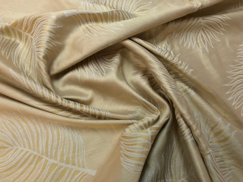 Ecru Palm Leaves On Double Faced Wheat Brown Silk Satin Jacquard