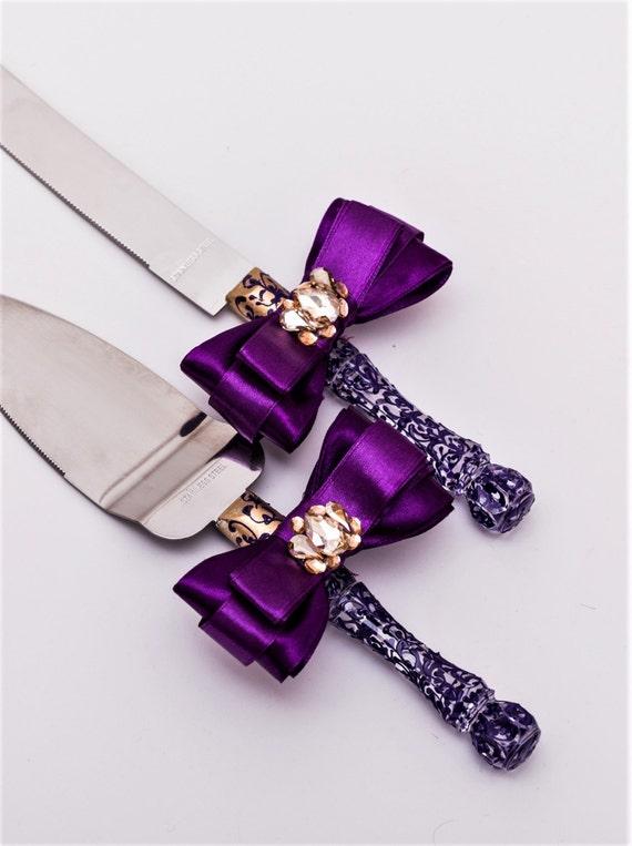Wedding Cake Server Set Gold And Purple Wedding Cake Knife