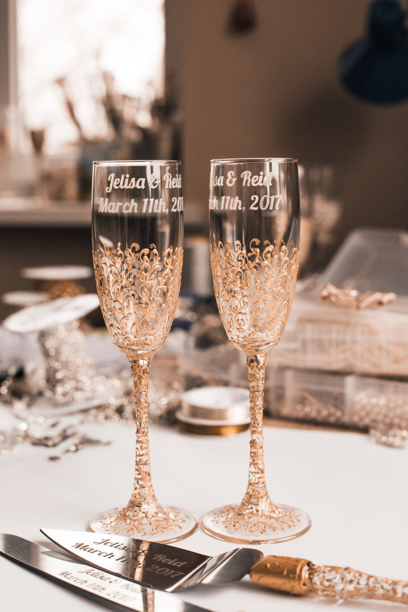 personalized wedding glasses Toasting flutes gold Glasses image 0