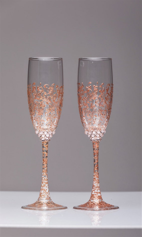 personalized wedding glasses rose gold personalized glasses etsy