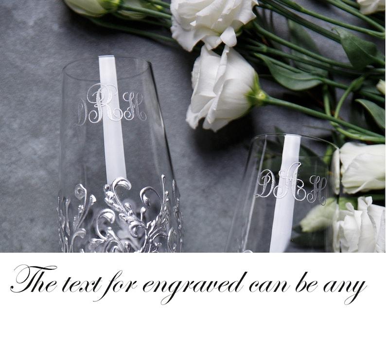 set of 4 Personalized Wedding glasses and Cake Server Set cake cutter boho wedding toasting flutes champagne wedding flutes and cake set