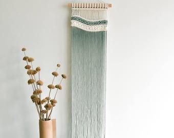 macrame wall hanging, modern fiber art tapestry, nursery wedding decor, woven wall art, dipdye macrame design, pink, Cote d'Azur #3