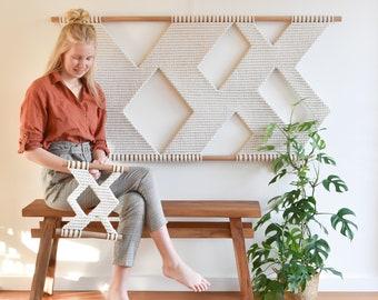 macrame wall hanging, geometric tapestry, wall fiber art, macrame pattern decoration, modern macrame, woven fiberart, PUZZLE