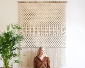 Fiber art wall hanging XXL, modern macrame tapestry macrame wall art pattern, woven wall decor, tapestry headboard, Woven Through Time