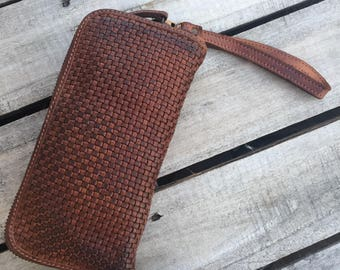 Camel Color Italian Leather Microwoven Wallet