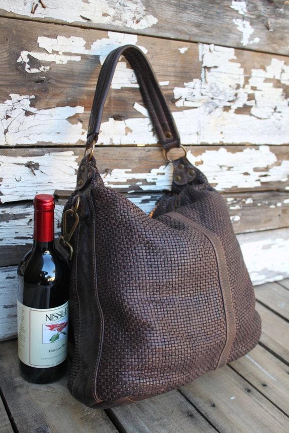 ab9b130175 Dark Brown Soft Woven Italian Leather Hobo Bag