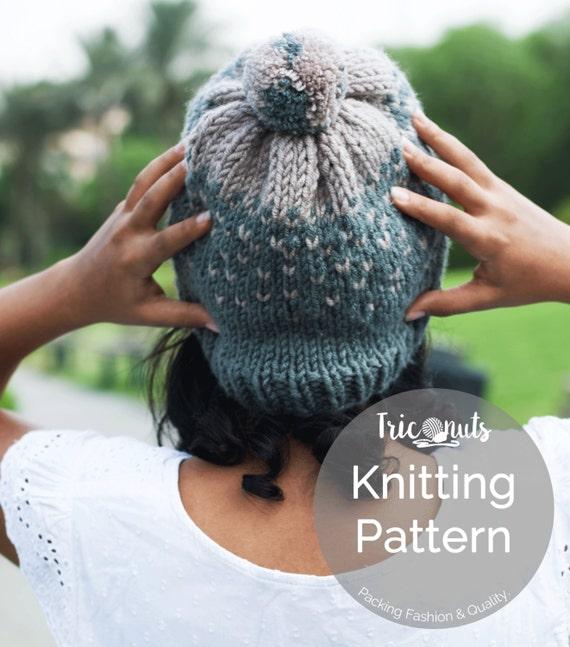 PATTERN // Knitting Hat Pattern, Coco Alpines Hat Pattern, Knitting Pattern, Ombré Hat Pattern, Knitting Pattern For Women.