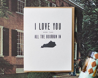 southern love greeting card - bourbon in kentucky
