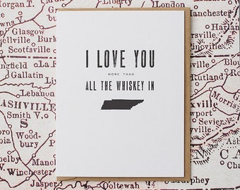 southern love greeting card - whiskey in tennessee