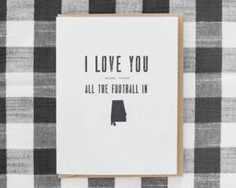 southern love greeting card - football in alabama