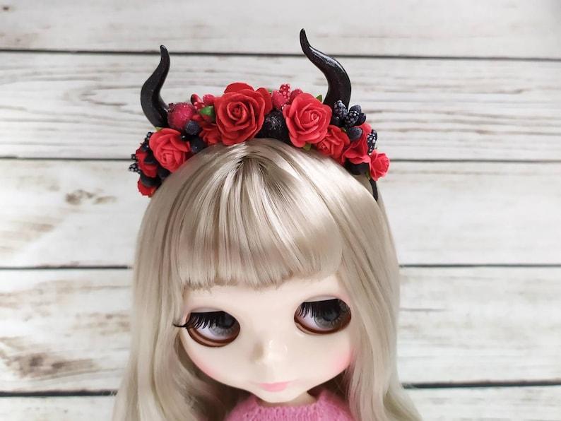 1 Pair Lovely Devil Horn Shape Hair Clip Hair Pins for Blythe Doll Clothing