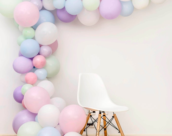 Featured listing image: Pastel Unicorn Garland Arch DIY Balloon Pack, 120pc Mix of 12 10 5 inch Balloons + Tools, Wedding, Hen, Baby, Bridal Shower