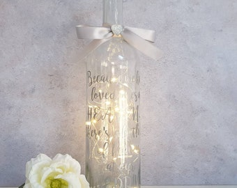 Light up bottle, loved ones in heaven light up bottle, decorative light bottle, remembering loved ones, light up wedding bottle