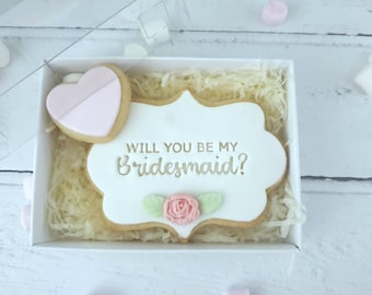 Bridesmaid proposal cookie, will you be my bridesmaid gift,  bridal party gift, bridesmaid biscuit