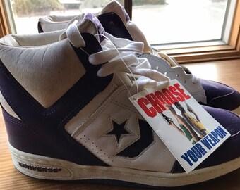 Vintage 80 s Converse Weapon basketball Shoes Sz. 9. 1986 Deadstock w o Box  Purple White a98149c87