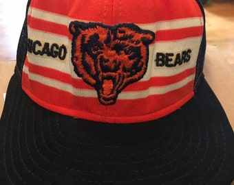 ca3b54f485b85 Vtg. Chicago Bears 80s USA Trucker Hat Cap Snapback AJD Superstripe NFL  Football
