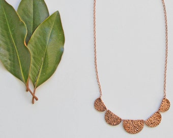 Antic Copper & Antic Gold Scallop Necklace // Beautiful Copper or Gold Scalloped Necklace
