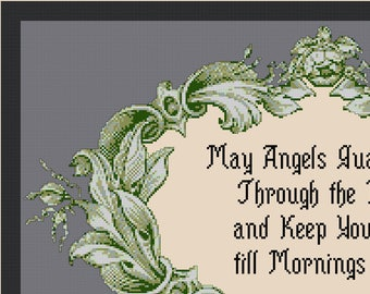 "ANGELS GUARD YOU Prayer Sampler Cross Stitch Pattern (approx. 15"" x9"")(Color & B W Chart and Key)"