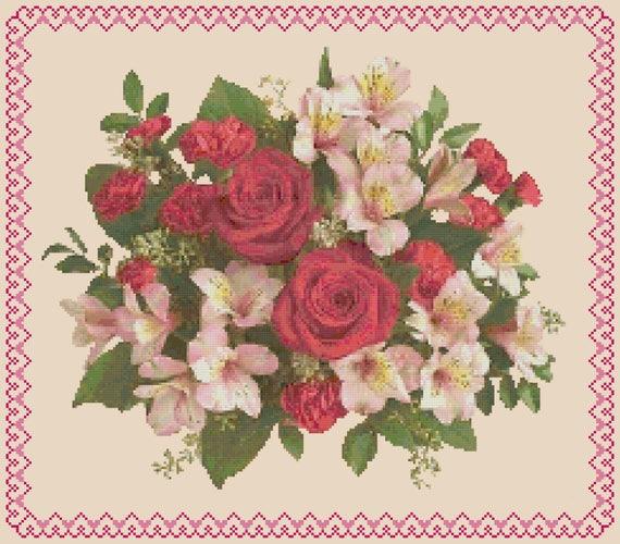 Cross Stitch Chart Pattern 3 Red Roses