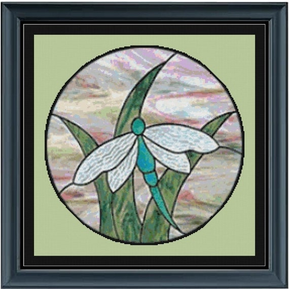 Stain Glass Dragonfly Cross Stitch Pattern LOOK