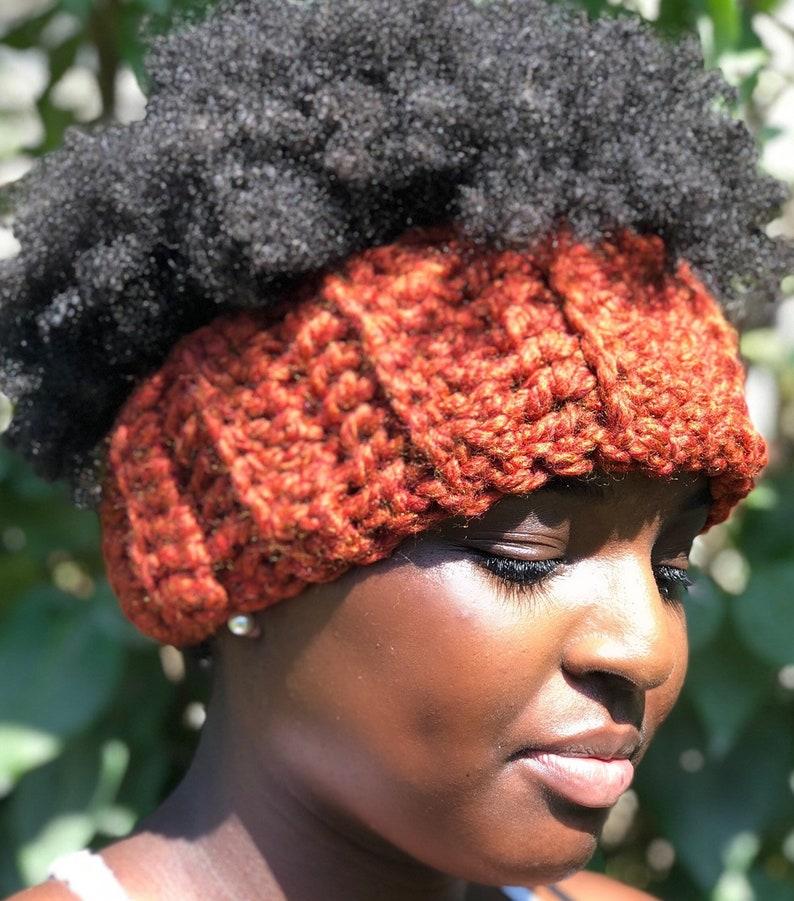 96ebbdb078565 Satin lined headbandAutumn Orange Protective Head Warmer from