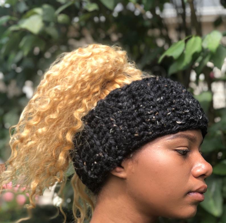 32505e58b05a3 Satin lined headband Salt and Pepper Protective Head Warmer