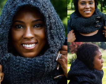 Satin lined- Charcoal wool haircare scoodie with buttons Protective Hair Wear from winter cold