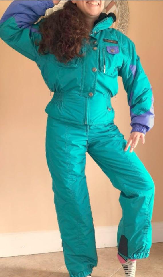 Ski Suit Purple Blue Green, Two Piece Schneider Sn