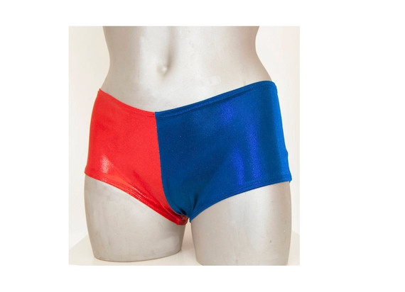 Harley Quinn Suicide Squad Harlequin Metallic Shinny Hot Shorts or with glove