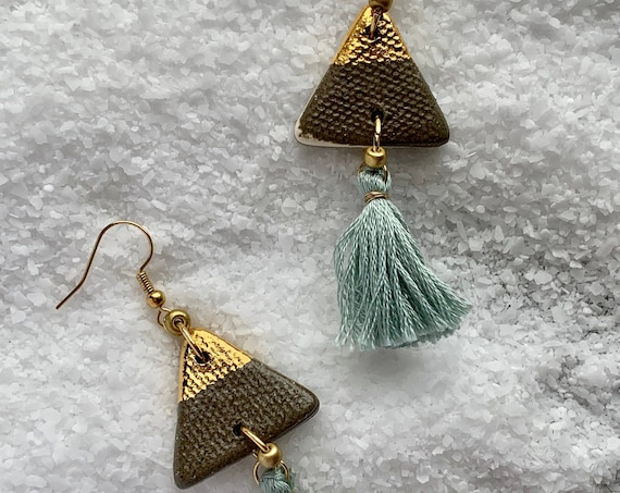 Marbled Gold Dipped Tassel Earrings