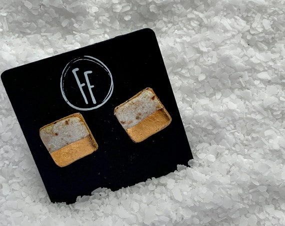 White Square Gold  Studs