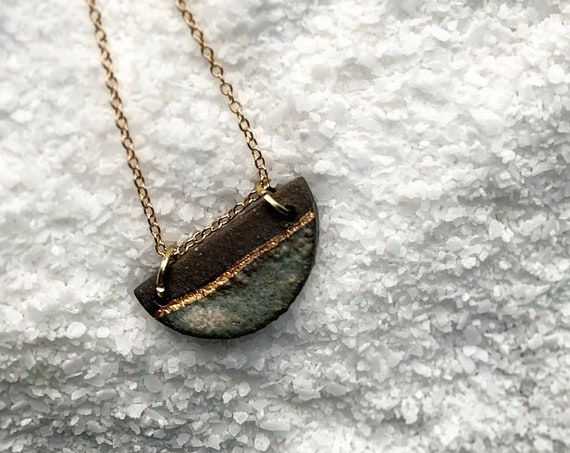 Sm Gold Dipped Stormy Gray Necklace