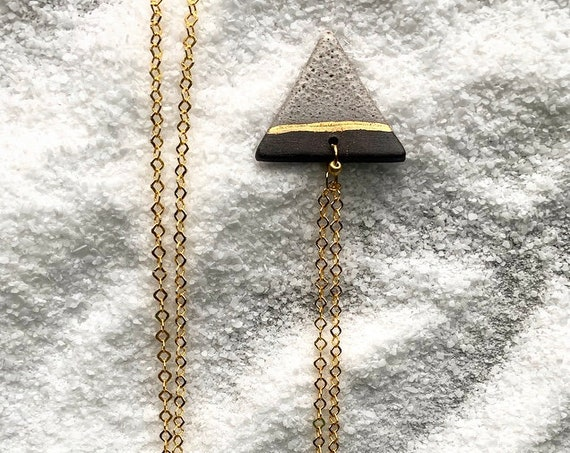 Gold Line Triangle Necklace