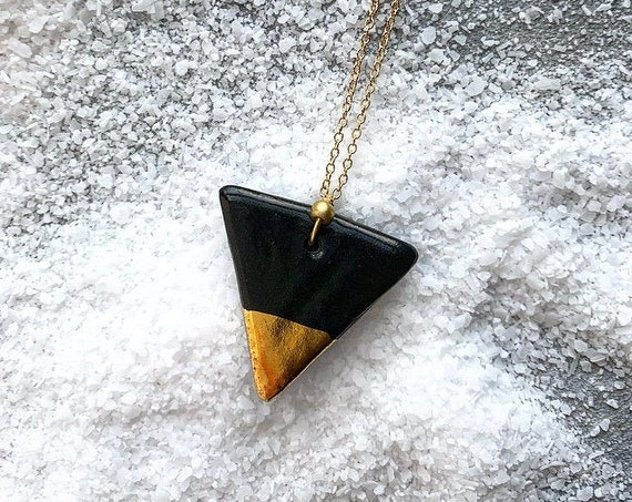 M Gold Dipped Black Necklace