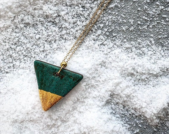 M Gold Dipped Green Necklace