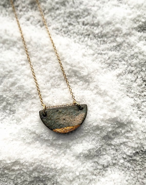 Gold Dipped Stormy Gray Necklace