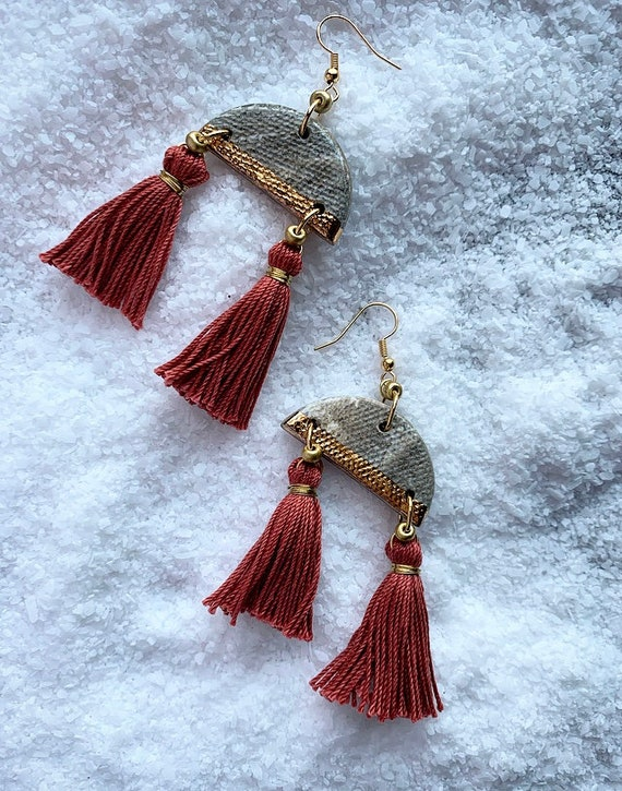 M Marbled Gold Dipped Double Tassel Earrings