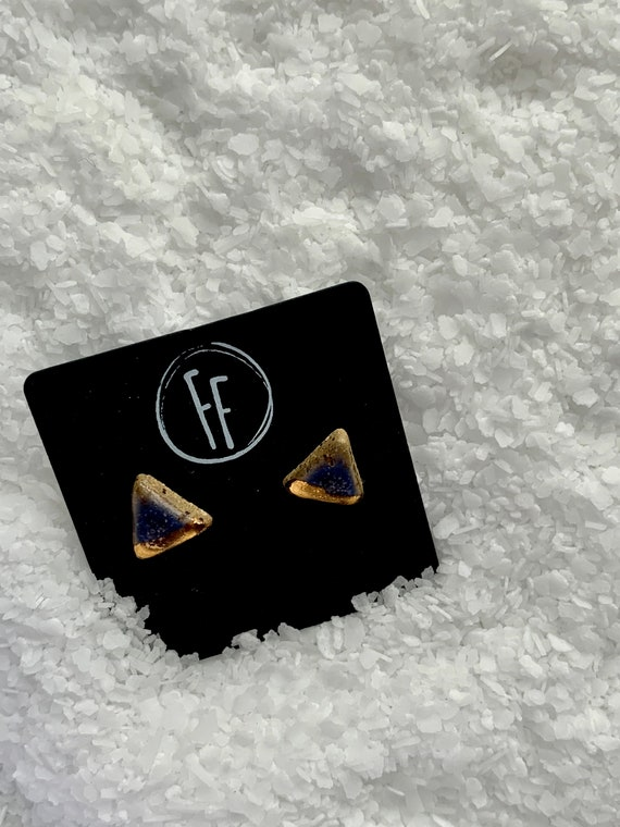 Amethyst & Gold Triangle Studs