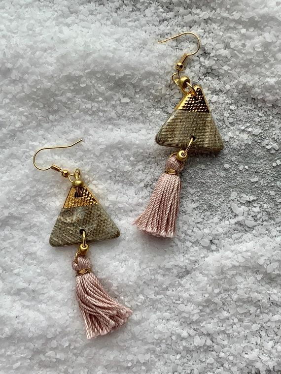 Marbled Gold Dipped Tassel Earrings