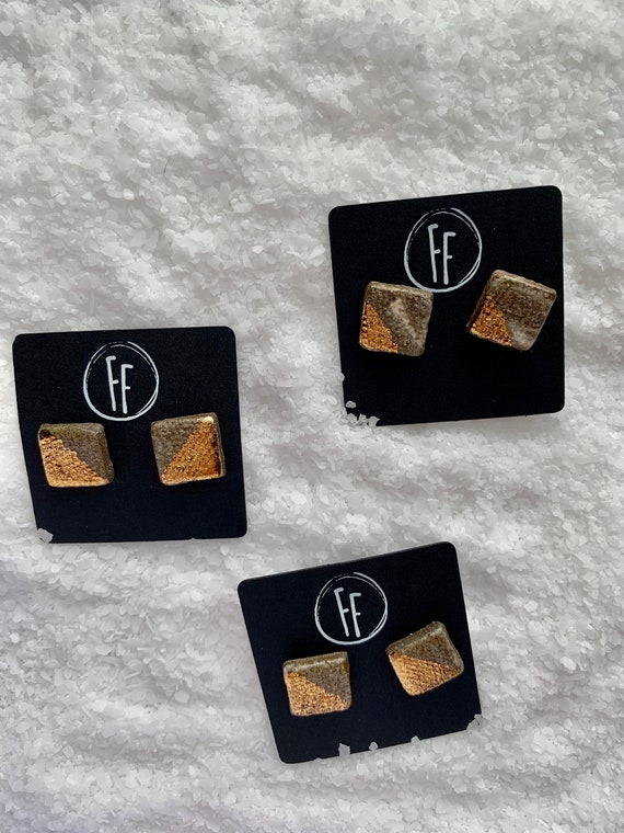 Marbled Square Gold  Studs