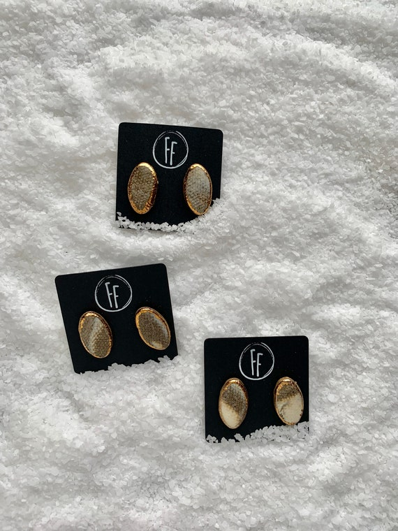 Marbled Oval Gold  Studs