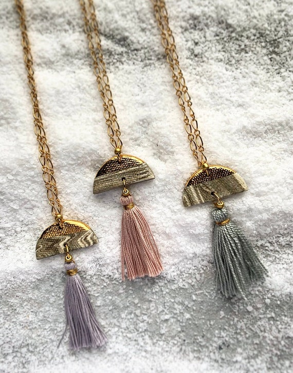Gold Dipped Marbled Tassel Necklace
