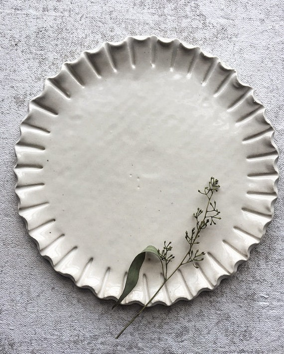 Crimped White Salad Plate